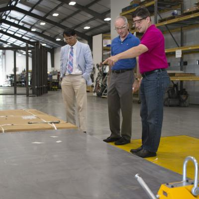 Joel Brock from CHESS visits ADC in Lansing, NY to see the assembly of the hutches.